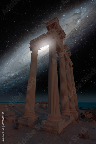 Temple of Apollo with Andromeda Galaxy - Side, Antalya Elements of this image f Fototapeta