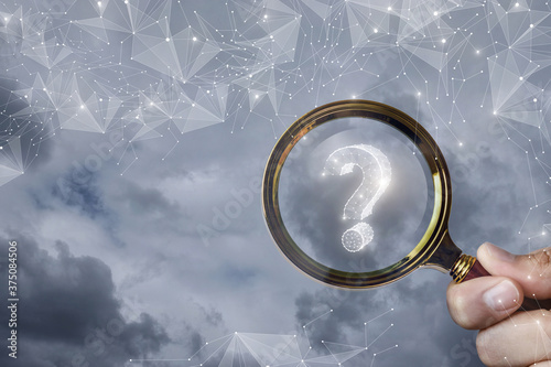 Photo Concept of finding an answer to the questions that have arisen in business and in life
