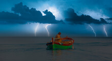 Fisherman With Fishing Boat In...
