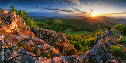 Forest and mountain at sunset - landscape panorama Fotobehang
