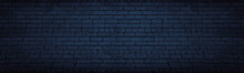 Navy Blue Brick Wall Wide Text...