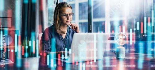 Businesswoman working at modern office Wallpaper Mural