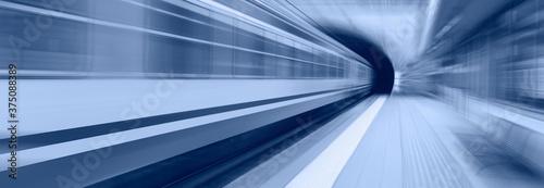 Cuadros en Lienzo High speed train runs on rail tracks - Train in motion