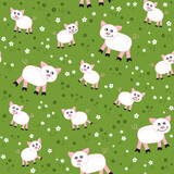 Fototapeta Pokój dzieciecy - Vector Seamless pattern with pigs  in  the meadow. Loop pattern for fabric, textile, wallpaper, posters, gift wrapping paper, napkins, tablecloths. Print for kids, children.