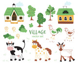 Fototapeta Pokój dzieciecy - Cute Farm animals set. Сartoon animals collection in flat style isolated on white background: cow, horse, rooster, chicken,  goat