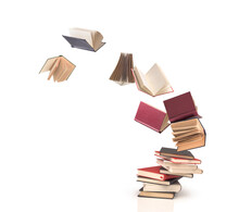 Flying Open Books Out Off Stack Isolated