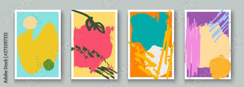 Obraz na plátně Creative minimalist hand painted abstract artistic background set