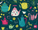 Fototapeta Pokój dzieciecy - Seamless pattern with teapot. Background for fabric, textile, wallpaper, posters, gift wrapping paper, napkins, tablecloths. Print for kids, baby, children