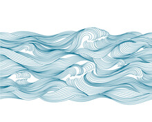 Seamless Pattern Sea, Waves, Water. Hand Drawing By Line. Isolated On White Background