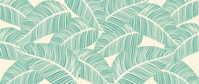 Luxury Leaf Art Deco Wallpaper. Nature Background Vector. Floral Pattern With Tropical Plant Line Art On Trendy Color Background. Vector Illustration.