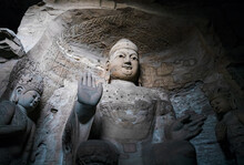 Seated Statue Of Amitabha Buddha In Cave 3 At Yungang Grottoes, Datong, Shanxi, China. Created From 5th Century During Northern Wei Period. UNESCO World Heritage Site.