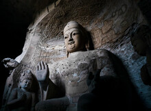 Seated Statue Of Amitabha Buddha In Cave 3 At Yungang Grottoes, Datong, Shanxi, China. Created From 5th Century During Northern Wei Period. UNESCO World Heritage.