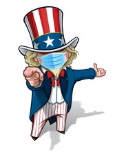 Uncle Sam 'I Want You' Presenting - Surgical Mask