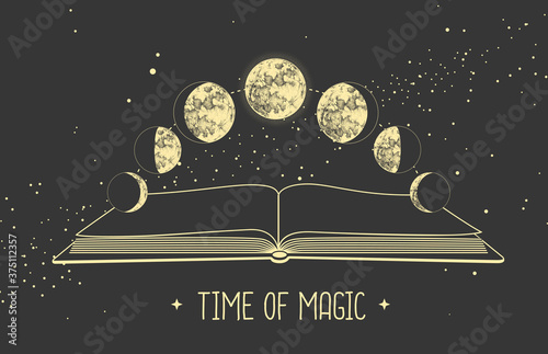 Fototapeta Modern magic witchcraft card with moon phases and open magic book