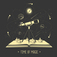 Modern magic witchcraft open book with telescope and outer space and planets. Vector illustration