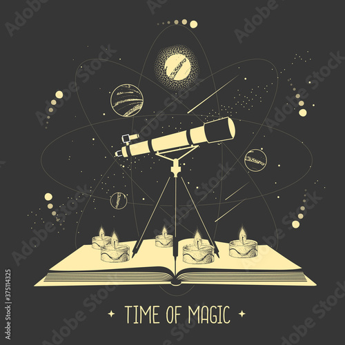 Fotografia, Obraz Modern magic witchcraft open book with telescope and outer space and planets