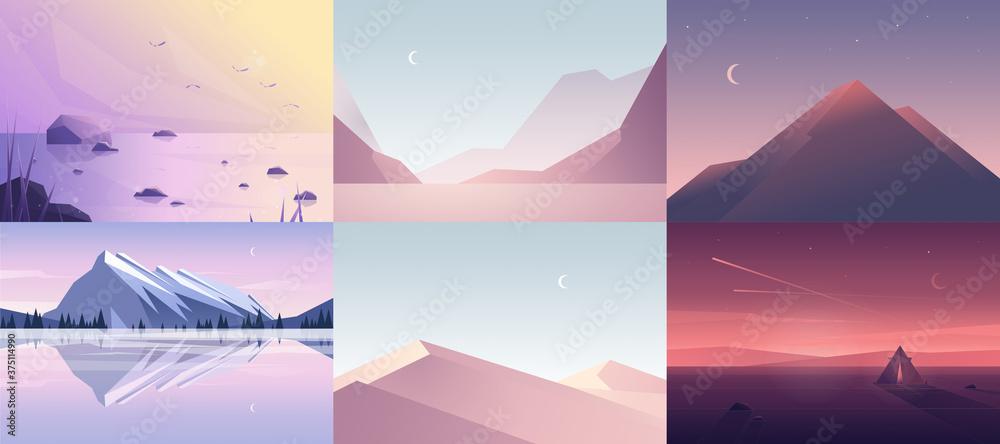 Fototapeta Vector banners set with polygonal landscape illustrations