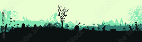 Halloween cemetery landscape with monsters Fototapet