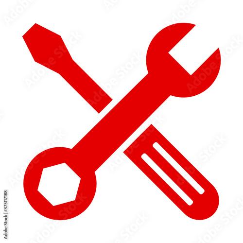 Obraz klucz i śrubokręt ikona - fototapety do salonu