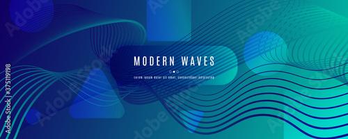 Obraz na plátne Blue Dynamic Wave. Flow 3d Design. Vivid Gradient