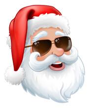 Christmas Cartoon Of Cool Santa Claus Smiling In His Sunglasses Shades