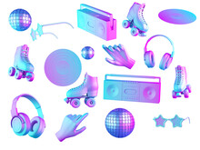 80's Things And Fashion In Gradient Pink And Blue Neon Light. Boombox, Vinil, Roller Skates, Disco Ball On Isolated On White Background. 3d Render.