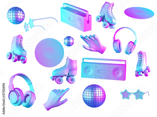 Fototapeta 80's things and fashion in gradient pink and blue neon light. Boombox, vinil, roller skates, disco ball on isolated on white background. 3d render. obraz