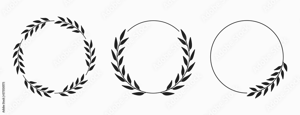Fototapeta Set of laurel wreath circle borders. Decorative vector elements.