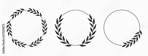 Fotografija Set of laurel wreath circle borders. Decorative vector elements.