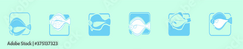 set of flounder fish cartoon icon design template with various models Poster Mural XXL