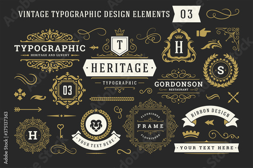 Fototapeta Vintage typographic decorative ornament design elements set vector illustration obraz
