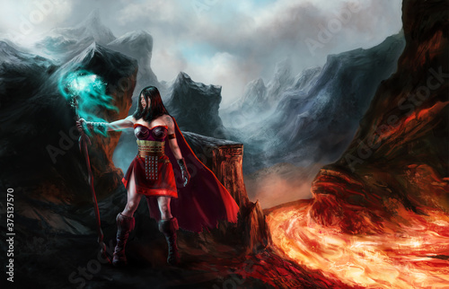 Magician girl casting the spell and lava landscape illustration Tableau sur Toile
