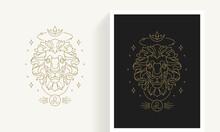 Zodiac Leo Horoscope Sign Line Art Silhouette Design Vector Illustration.