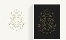 Zodiac Virgo Horoscope Sign Line Art Silhouette Design Vector Illustration.