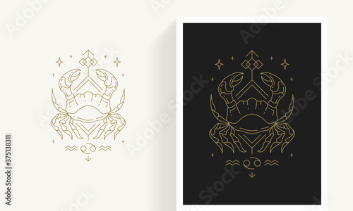 Zodiac cancer horoscope sign line art silhouette design vector illustration Canvas Print