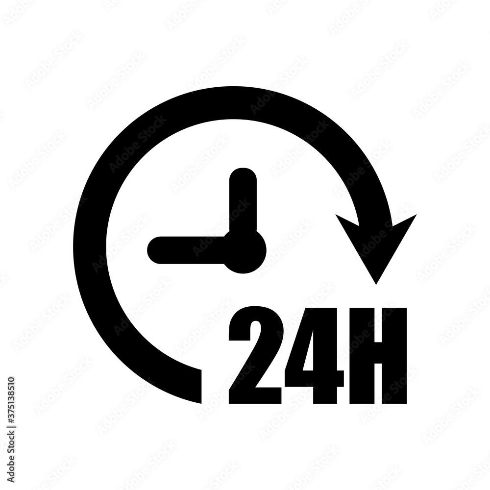 Fototapeta 24 hours icon. Time icon. Time logo.  Arrow vector icon. Round logo. Watch, time icon.