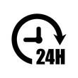 24 hours icon. Time icon. Time logo.  Arrow vector icon. Round logo. Watch, time icon.