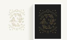 Zodiac Pisces Horoscope Sign Line Art Silhouette Design Vector Illustration.