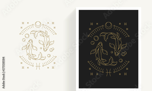 Slika na platnu Zodiac pisces horoscope sign line art silhouette design vector illustration