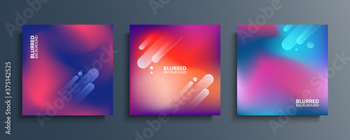 Foto Blurred backgrounds set with modern abstract blurred color gradient patterns
