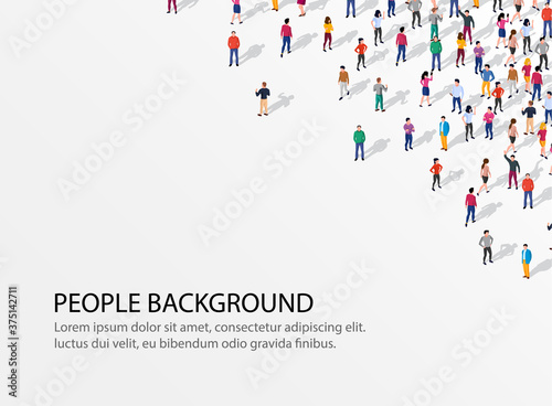 Fototapeta Large group of people on white background. People communication concept. obraz