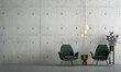 Leinwanddruck Bild - modern mock up interior design of living room and concrete wall background