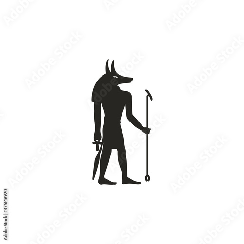 Canvas Print Anubis, god of death and funeral in ancient Egyptian mythology, vector illustrat
