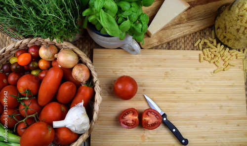 tomatoes and pasta - the perfect couple Fototapet
