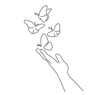 Hand With Butterfly On Finger. Line Art Drawing