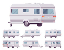 RV Vintage Style Camper, Travel Trailer For Outdoor Adventures. Functional Vacation Van, Camping Experience And Caravanning Family Lifestyle. Vector Flat Style Cartoon Illustration, Different Views