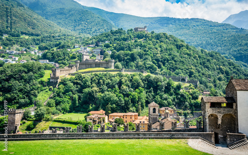 Bellinzona three castles view with wall of Castelgrande and panorama of Montebel Fototapete