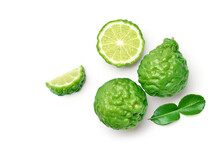 Flat Lay (top View) Of Bergamot Fruit With Cut In Half And Leaf Isolated On White Background.