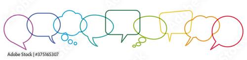 Fotografie, Obraz colored speech bubbles in a row