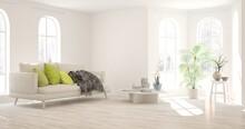 White Stylish Minimalist Room ...